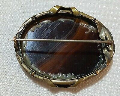 Pinchbeck & banded agate vintage Victorian antique large oval brooch 5