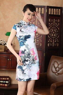 Jolie Mini Robe Chinoise Qi-Pao Blanc en Coton Tissé ImpriméTailles au choix