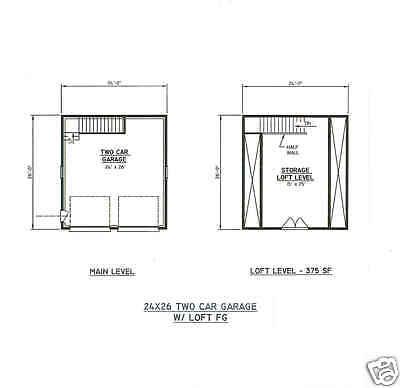 24x26 2 car fg garage building blueprint plans wlkuplft for 24x26 garage plans