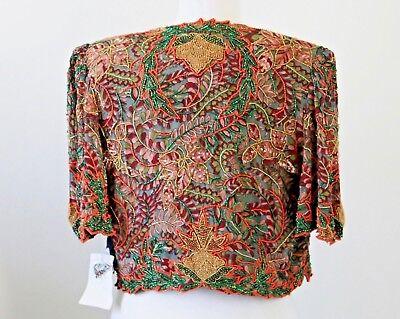 Jasdee Vintage Bolero Jacket Hand Work Bead & Sequins & Hand Print On Silk #3072 2