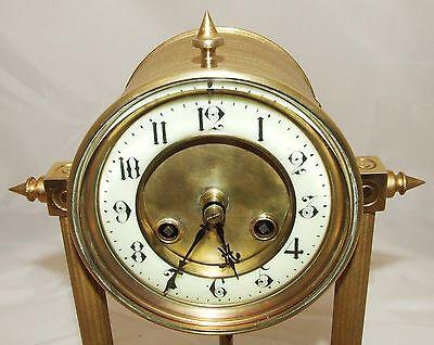 French Antique VINCENTI & CIE Drum Head Brass Striking Bracket Mantel Clock 5