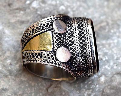 Black Onyx Stone Ring Turkmen Tribal Kuchi Afghan Jewelry Ethnic Gypsy Boho Ring 2