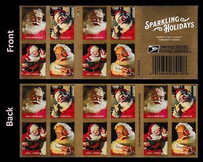Sparkling Holidays Santa Christmas. Forever Stamps. Book of 20. BONUS Souvenir