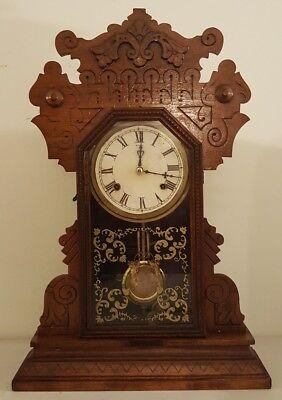 Antique Working 1870's Waterbury Clock Co. Victorian Walnut Parlor Mantel Clock 8