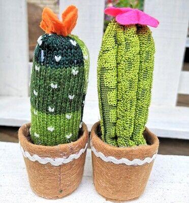 Großer Kaktus Kunstblume Kunstpflanze Grün Rot Topf Stoff Tilda Higge Strick