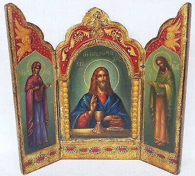 Antique 19th C Russian Hand Painted Wood Icon Triptych (Deesis Row) 2