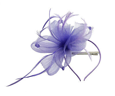 Flower Feather Hat Fascinator Headband Clip Wedding Royal Ascot Race Occasions 2