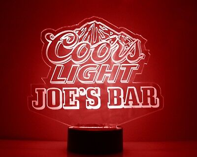 Personalized Coors Light Beer Logo Bar Sign Mancave LED Remote Control 2