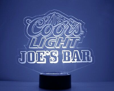 Personalized Coors Light Beer Logo Bar Sign Mancave LED Remote Control 3