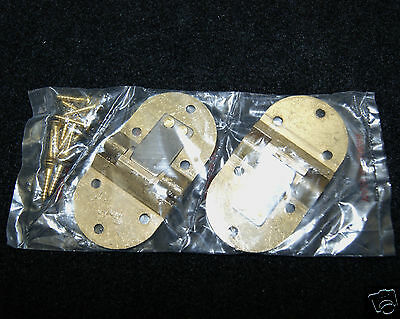Butler Tray Hinge Round Edge Polished Brass - Pair 8