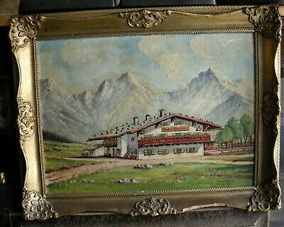 Vintage J. Neuberger Oil Painting on Board of Swiss Landscape 2