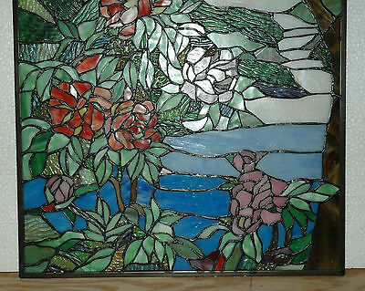 "20"" x 34"" Tiffany Style stained glass Jeweled window panel Cherry Blossom 11"