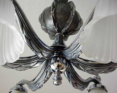 Art Deco Chandelier - Vintage - Chrome Finish 5