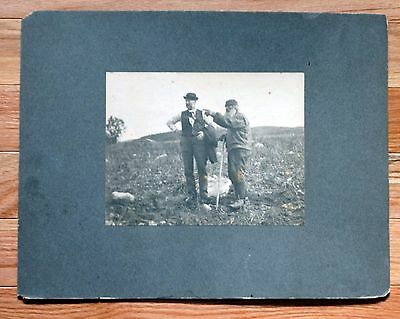 Antique Engraving EARLY 1900s LATE 1800s TWO MEN IN A FIELD OOAK Beautiful 4