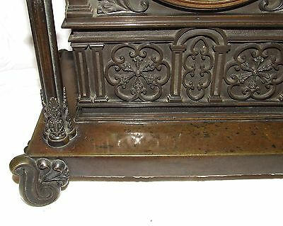 Antique Gothic BRONZE Twin Double Fusee Bracket Mantel Clock CLEANED & SERVICED 7