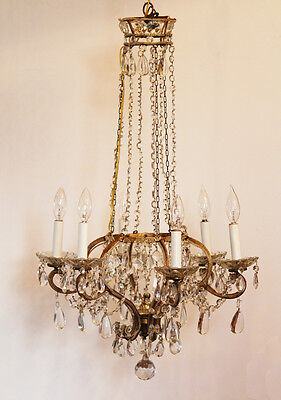 Best Ever! Antique Italian Beaded Crown Xlrg Chandelier Gorgeous