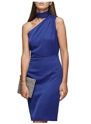 Reiss Ennie Blue One Shoulder Fluid Satin Party Cocktail Ascot Dress UK 8 to 14