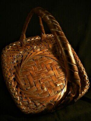 Antique Old Japanese signed Japan IKEBANA Woven Intricate Asian BASKET 6
