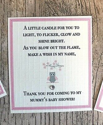*Baby Shower Favour Candle* 10 pack Gift Cute Baby Girl Pink Elephant Owl 5