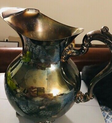 Vintage Footed Towle Silverplate Water Pitcher With Ice Guard 2