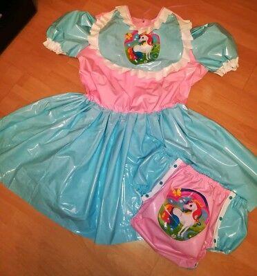 Adult Baby Kleid Windelhose Gummihose Sissy PVC LACK Diaper Plastik EINHORN XL 2