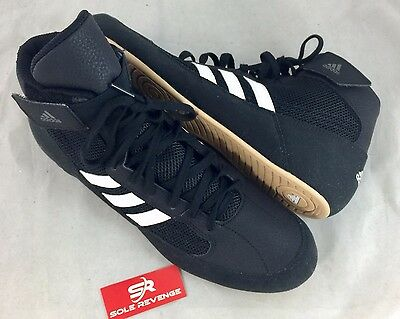brand new cc97a 9d5e5 ... real 5 of 7 new adidas hvc 2 wrestling shoes mma boxing black white gum  pretereo