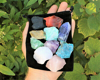 Beginners Crystal Kit, 10 pcs In Velvet Pouch - Most Popular Rough Crystals 2