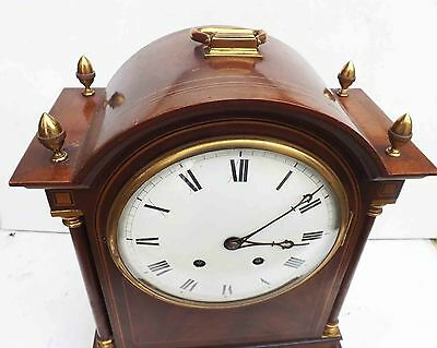 antique bracket clock rare striking movement in superb case and convex dial. 4