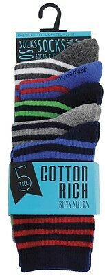 Modern Casuals Boys 5 Pairs Striped Cotton Rich Socks 3