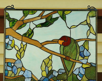 "20"" x 34"" Tiffany Style stained glass window panel 2 parrots birds 5"
