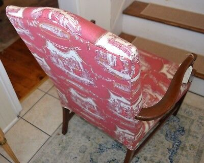 Vintage Martha Washington Arm Chair in Red Toile Stanley Chair Co. 3