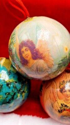 5 Vintage Paper Mache Christmas Ornaments Angel Round balls 5 Set 8