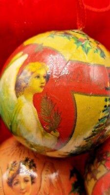 5 Vintage Paper Mache Christmas Ornaments Angel Round balls 5 Set 9