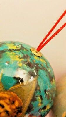 5 Vintage Paper Mache Christmas Ornaments Angel Round balls 5 Set 4