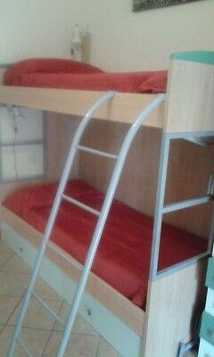 Letto a castello con cassettone, reti, materassi e scrivania con libreria 6