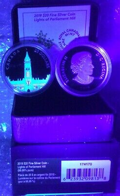 2019 Northern Lights Parliament Hill Glow-Dark $20 1OZ Silver Proof Coin Canada 8