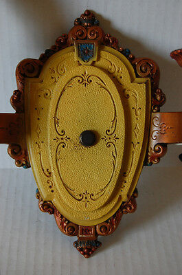 Two Pair Double Electric Candle Polychrome Sconces by Riddle Pull Chain Sockets 4