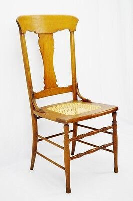 Early Oak Cane Seat Splat Back Accent Chair 4