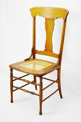 Early Oak Cane Seat Splat Back Accent Chair 3
