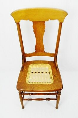 Early Oak Cane Seat Splat Back Accent Chair 5