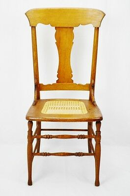 Early Oak Cane Seat Splat Back Accent Chair 2