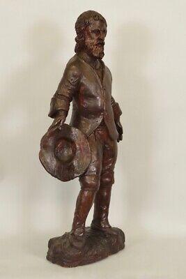 Escultura de Madera Siglo XVIII Siglo Hombre de Traje y Sombrero 2