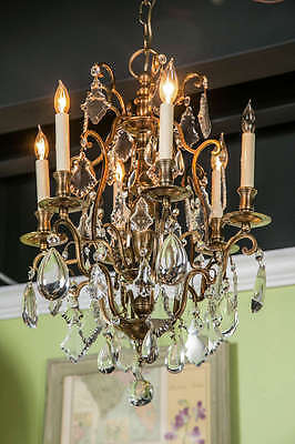 Antique Bronze French Various Size Crystals Large Chandelier Eight Lights c1930 12