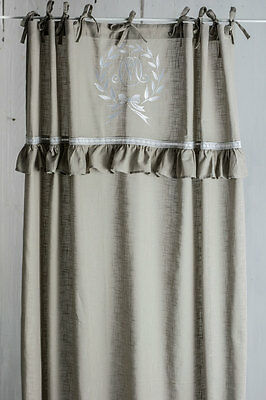 MATHILDE CAPPUCCINO BESTICKT Gardine 2 St Vorhang Romantik Shabby FRENCH NORDIC