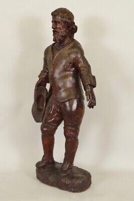 Escultura de Madera Siglo XVIII Siglo Hombre de Traje y Sombrero 6