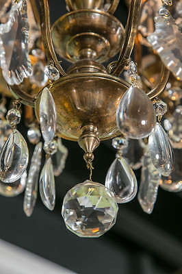 Antique Bronze French Various Size Crystals Large Chandelier Eight Lights c1930 11