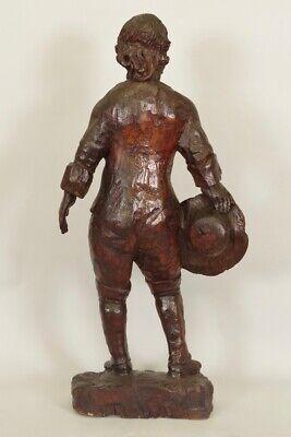 Escultura de Madera Siglo XVIII Siglo Hombre de Traje y Sombrero 4