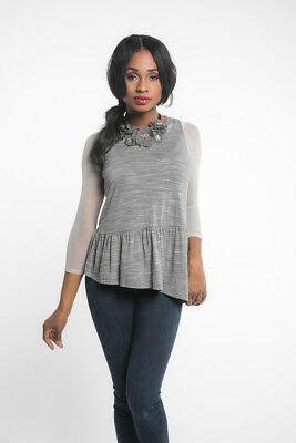 SLEEVEY WONDERS 30103  3//4-Sleeve SHAPEWEAR SLEEVES TOP Stretch MESH  Gray GREY