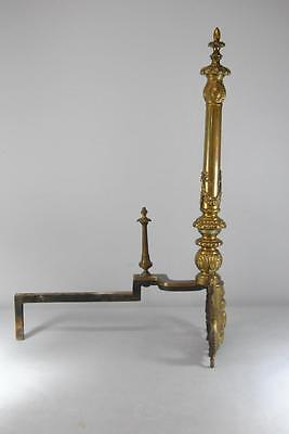 "Antique Pair Neo Classiacal Brass Andirons 30"" High 2"