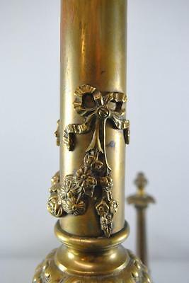 "Antique Pair Neo Classiacal Brass Andirons 30"" High 4"